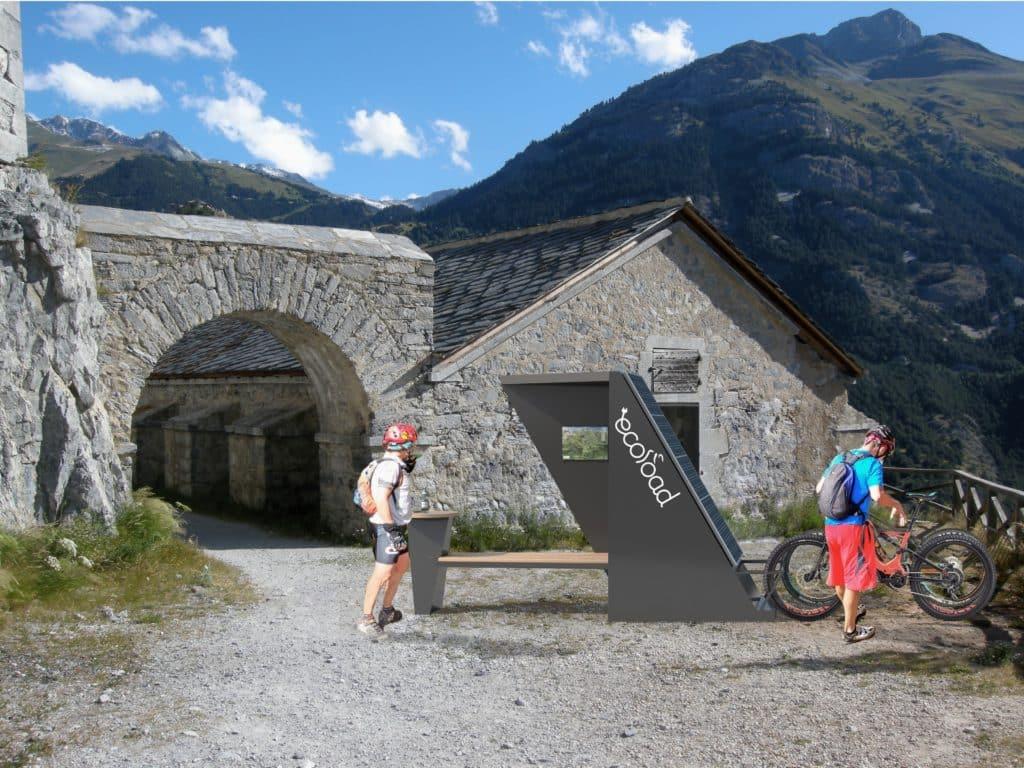 Station de recharge solaire Origami VAE trottinette scooter électrique ville site touristique