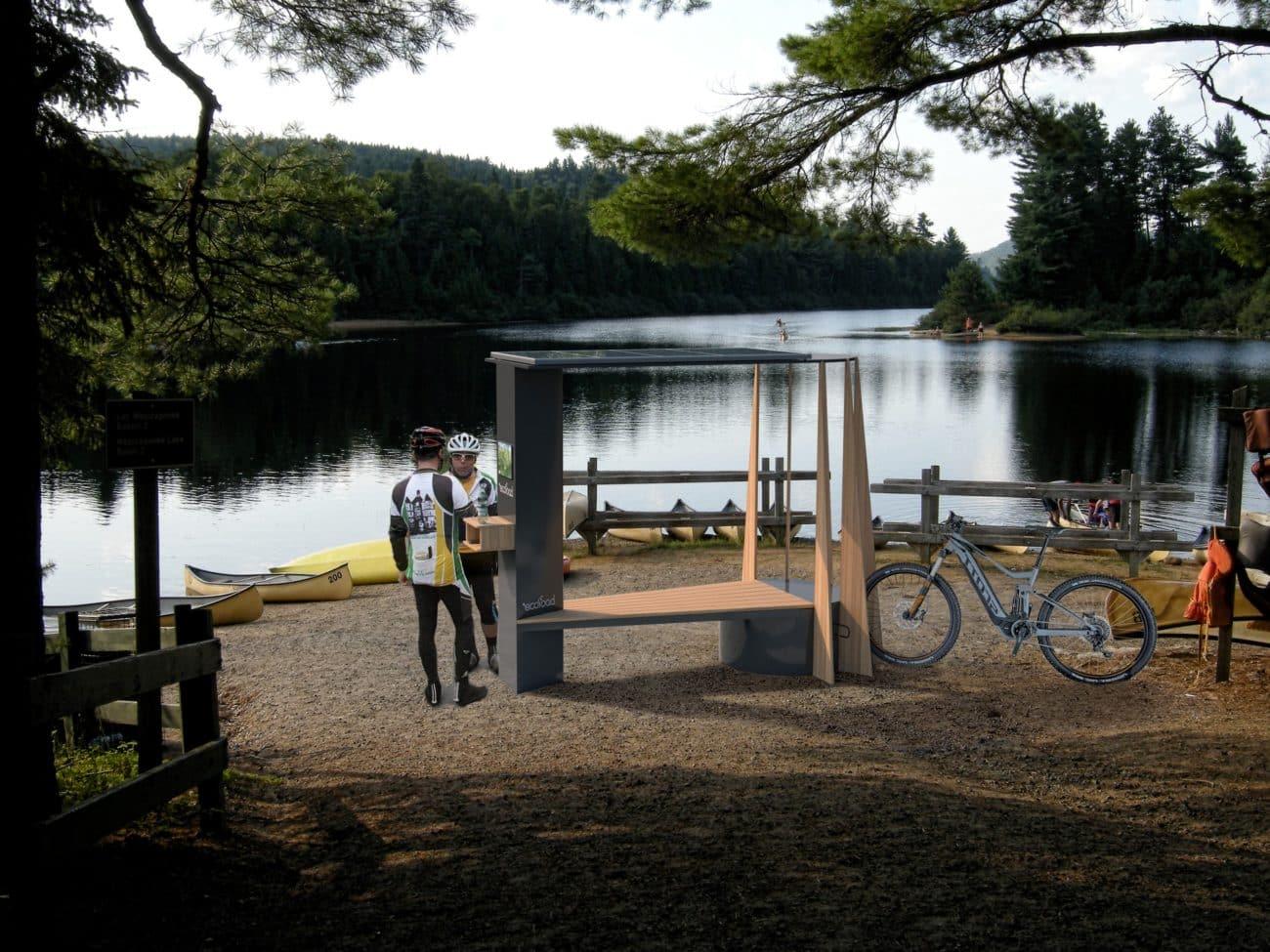 Teepee Station borne de recharge solaire design toute orientation pour vélo a assistance électrique