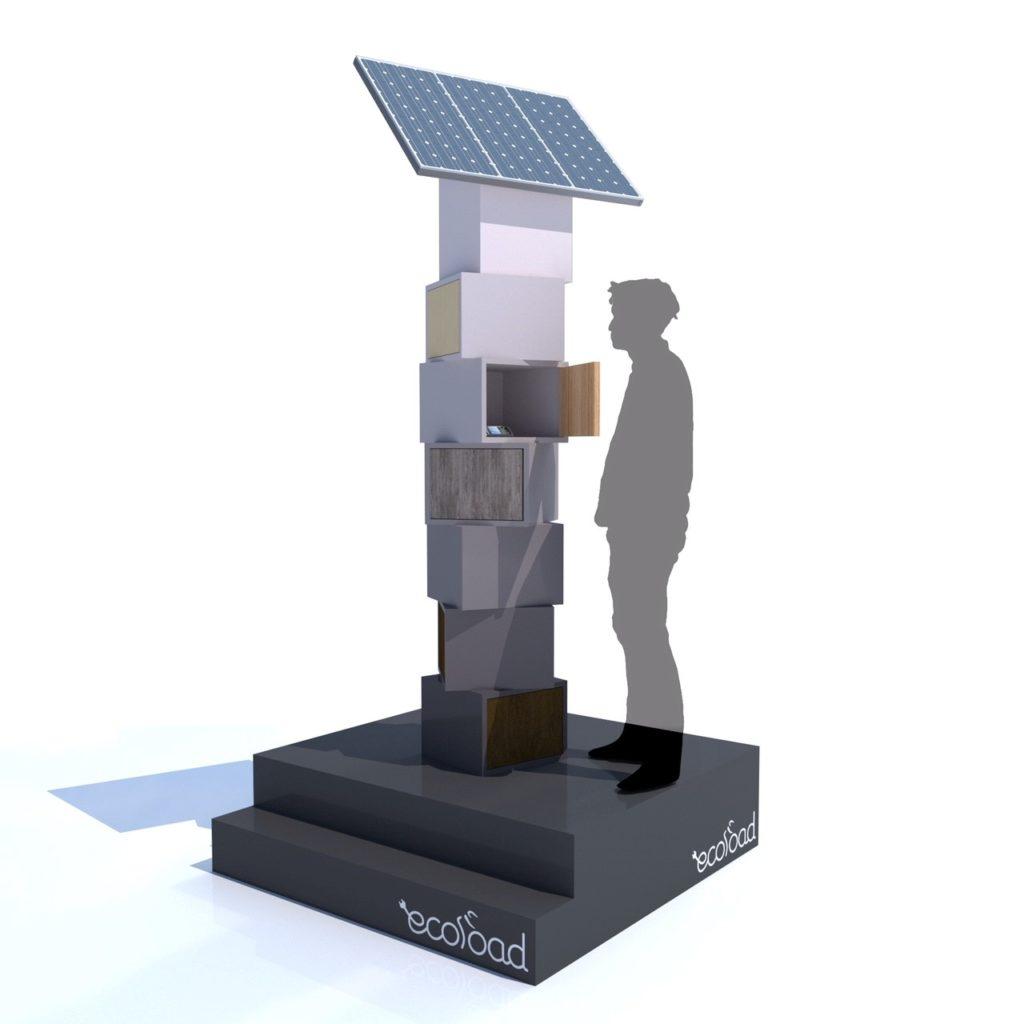 Borne de recharge solaire personnalisable Totem pour telephone smartphone tablette GPS appareil photo