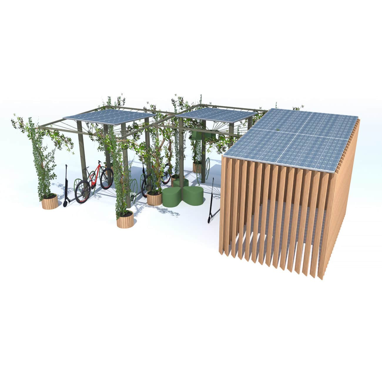Canopée station de recharge solaire 4 vélo scooter trottinette électrique
